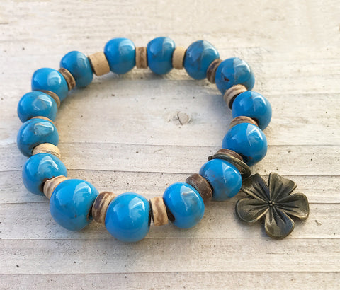 Bracelet - Ceramic with 3-D Antique-Bronze Flower Charm - Sky Blue