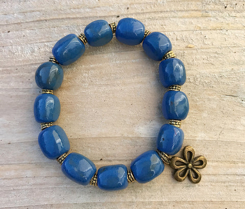 Bracelet - Ceramic with Antique-Bronze Daisy Charm - Rich Blue