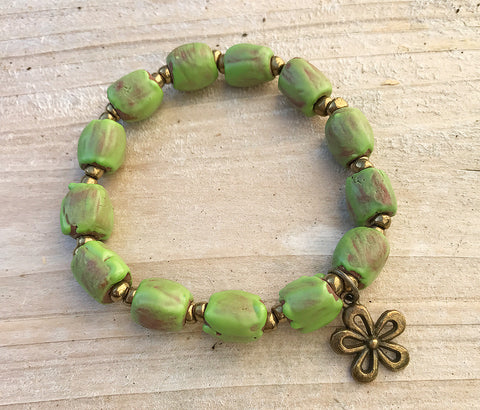 Bracelet - Ceramic with Antique-Bronze Daisy Charm - Rustic Apple Green