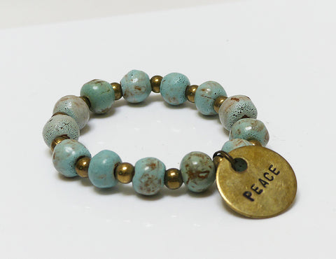 Bracelet - Ceramic with Peace Charm