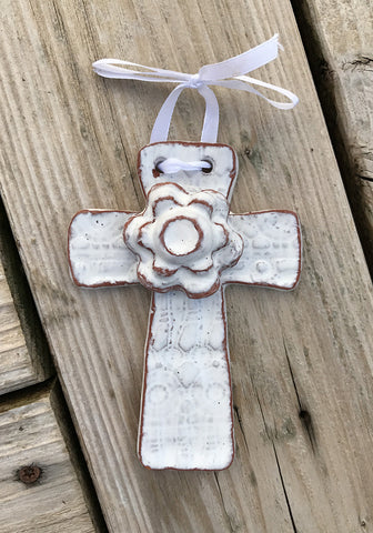 "Wall Art - Ceramic - Cross - with Flower 5"" by 3.5"" - Various Colors"