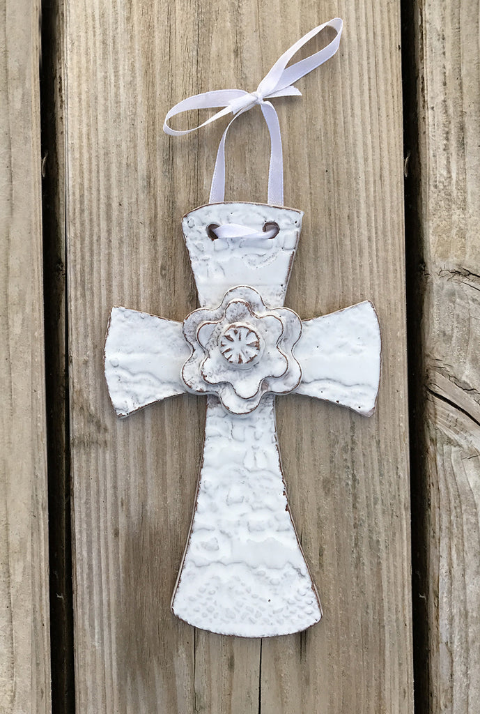 "Wall Art - Ceramic - Cross - with Flower 6.5"" by 4"" - Various Colors"