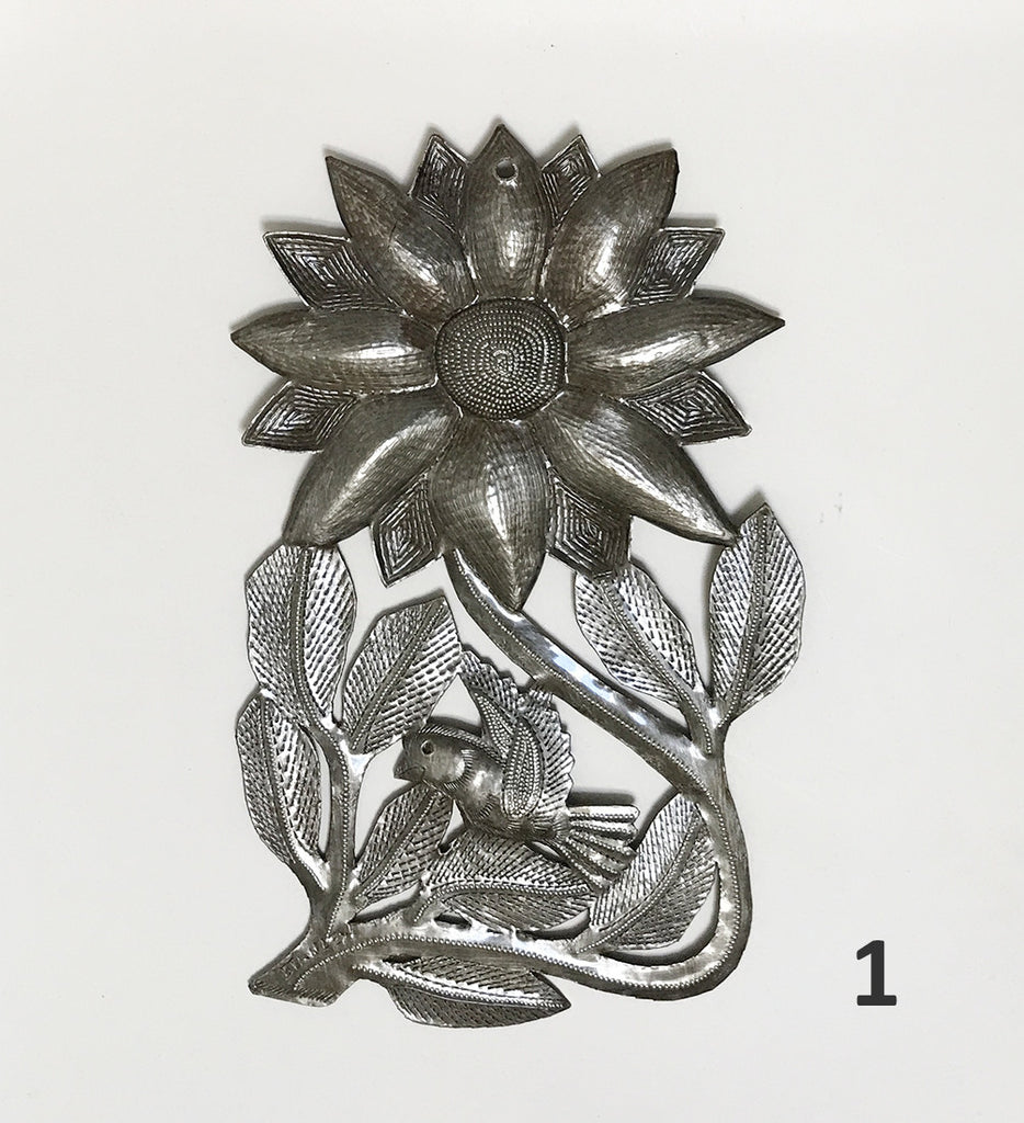 Wall Art - Metal - Flower 1 - with Bird