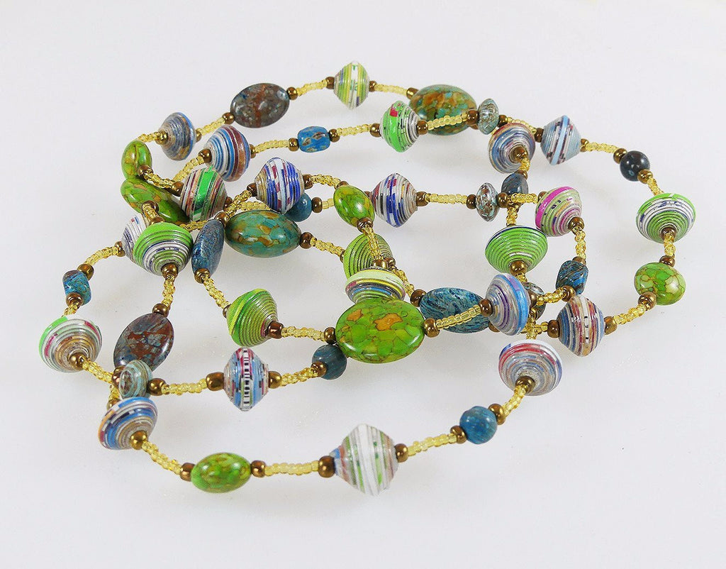 Necklace  - Signature -  LONG - Blue-Green with Jasper