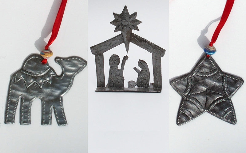 Ornament Set - Metal - Camel & Star with Tiny Standing Nativity