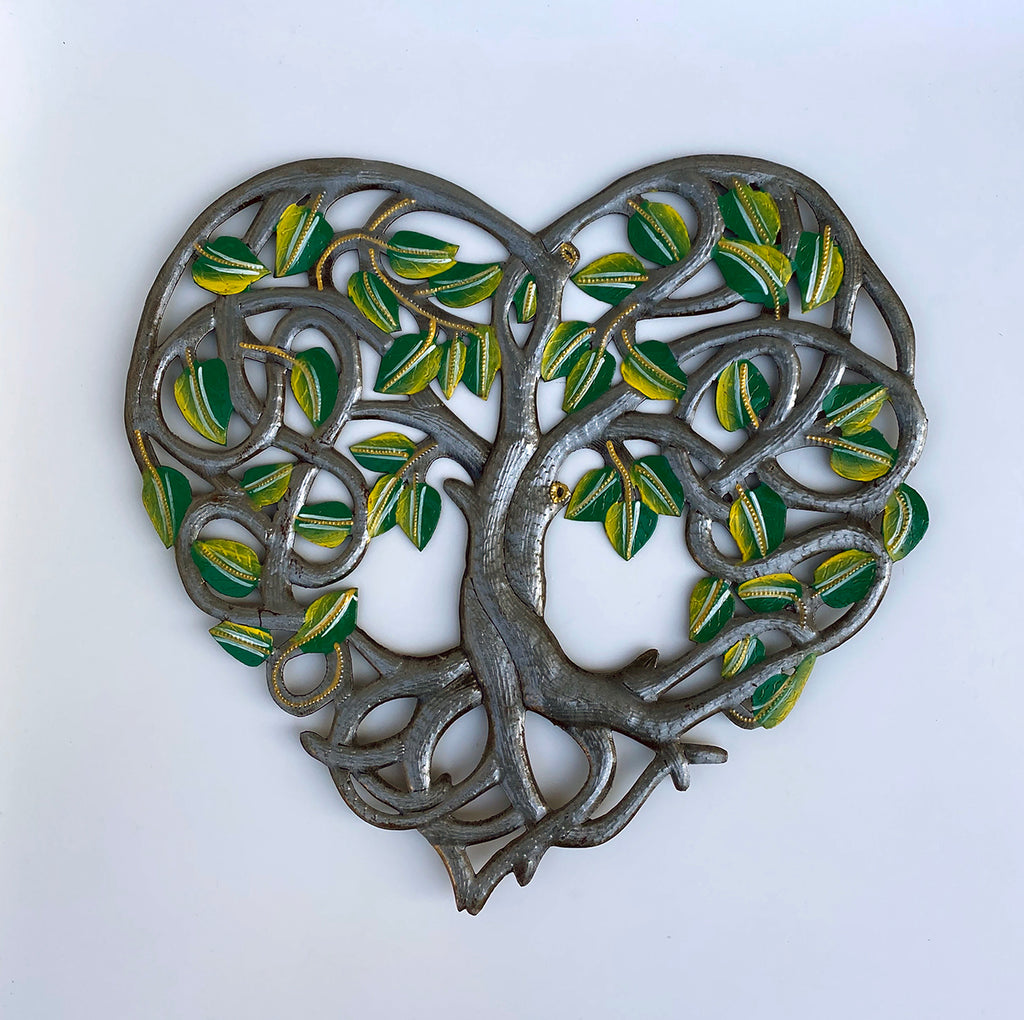 Wall Art - Metal - Tree Heart with Painted Leaves
