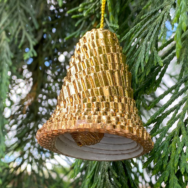 Ornament - Corrugated Paper - Shiny - Bell - GOLD (Single or Set of 3)