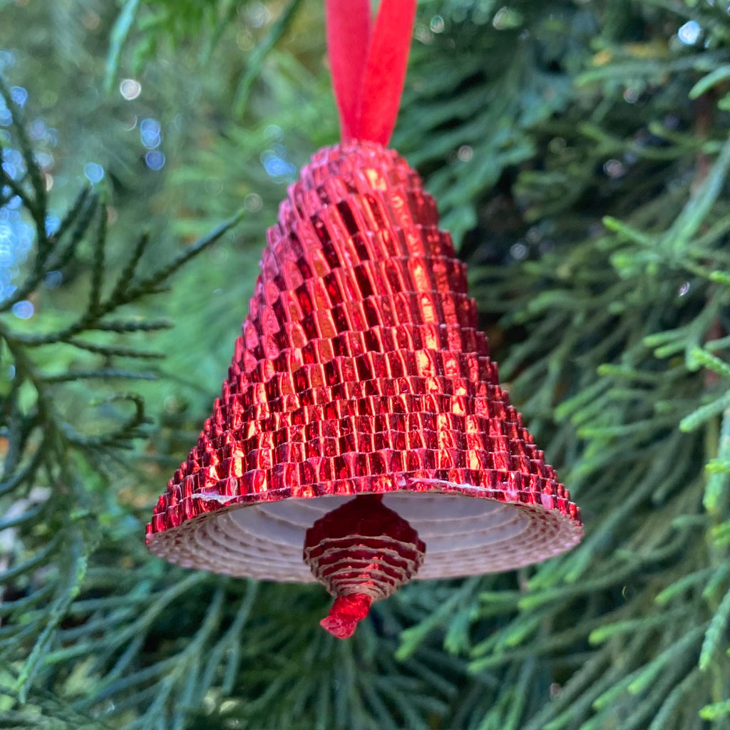Ornament - Corrugated Paper - Shiny - Bell - RED (Single or Set of 3)