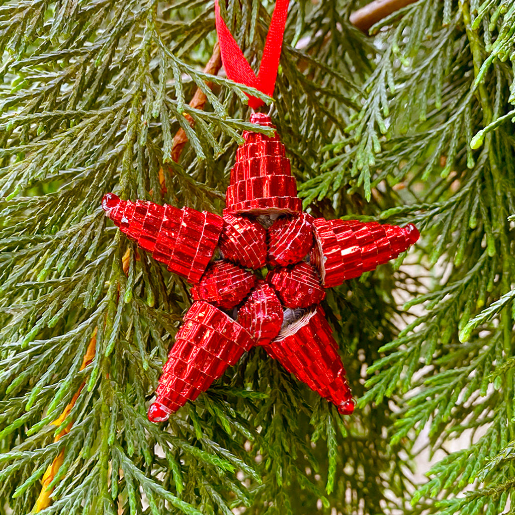 Ornament - Corrugated Paper - Shiny - Star- RED (Single or Set of 3)