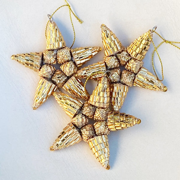 Ornament - Corrugated Paper - Shiny - Star- GOLD (Single or Set of 3)