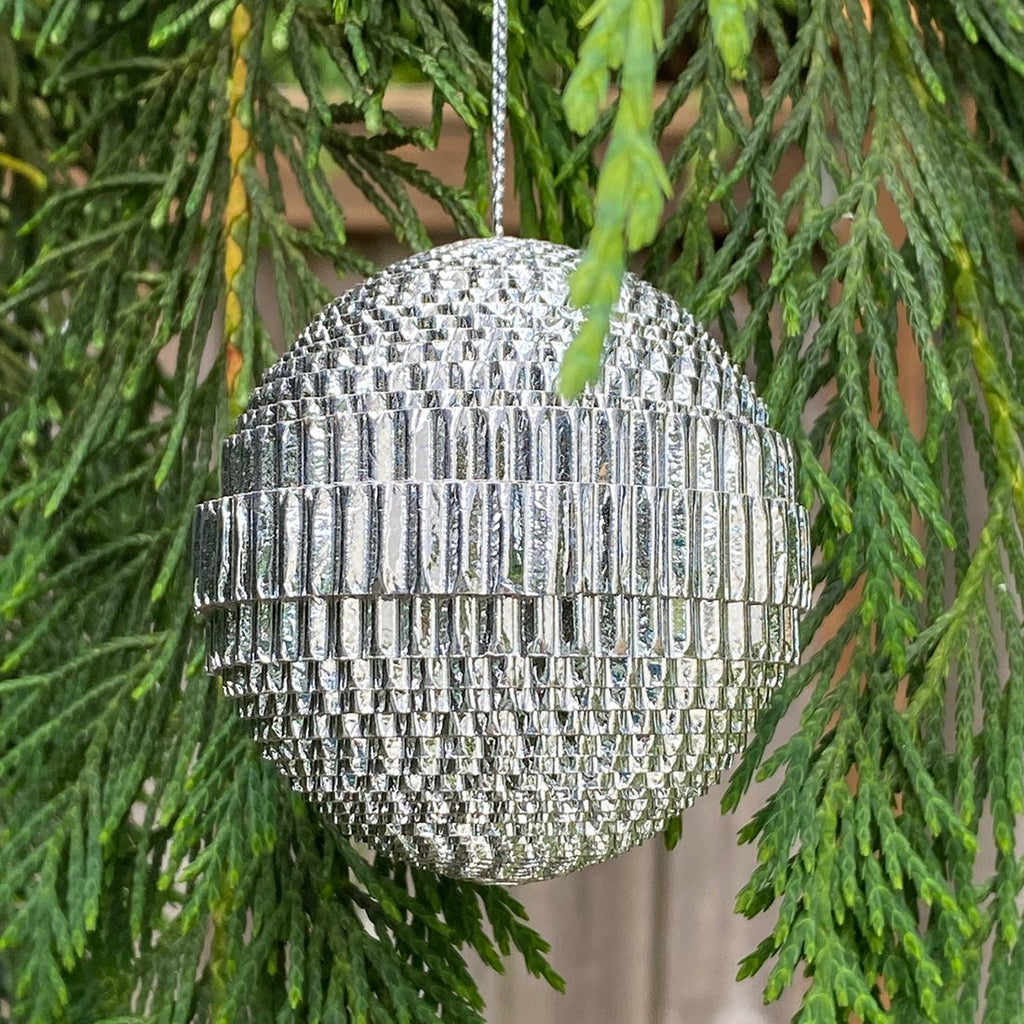 Ornament - Corrugated Paper - Shiny - Ball - SILVER (Single or Set of 3)