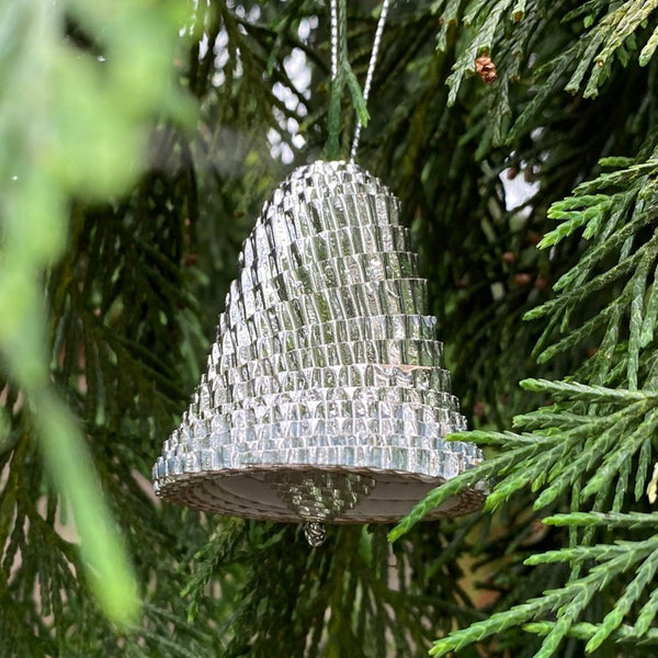 Ornament - Corrugated Paper - Shiny - Bell - SILVER (Single or Set of 3)