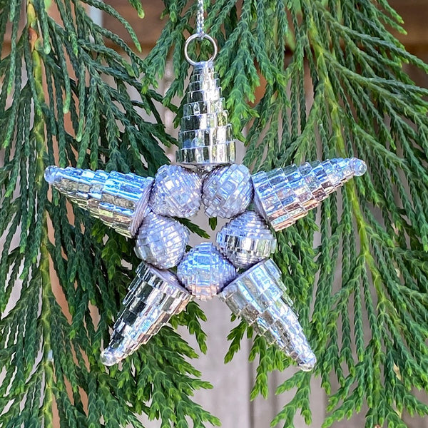 Ornament - Corrugated Paper - Shiny - Star- SILVER (Single or Set of 3)