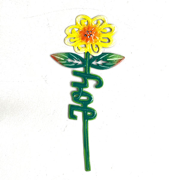 .Wall Art - Metal - Flower Word Art - Painted