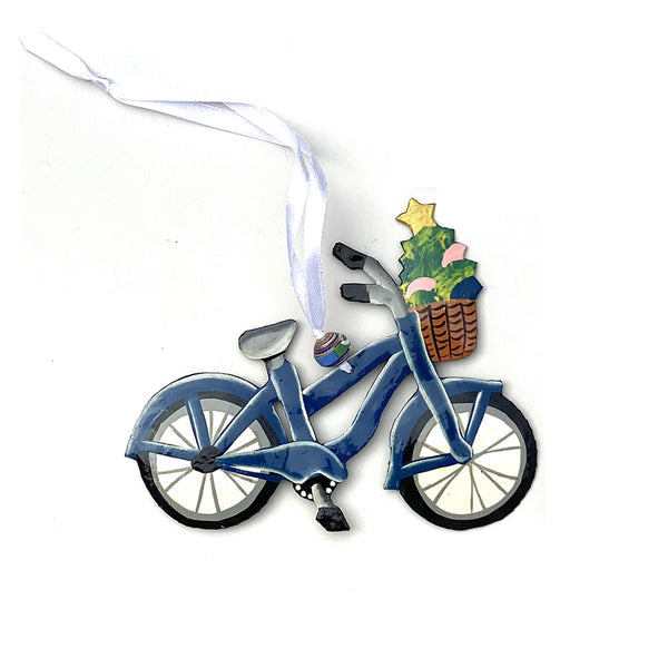 .Ornament - Metal - Painted Bicycle (Single or Set of 2)