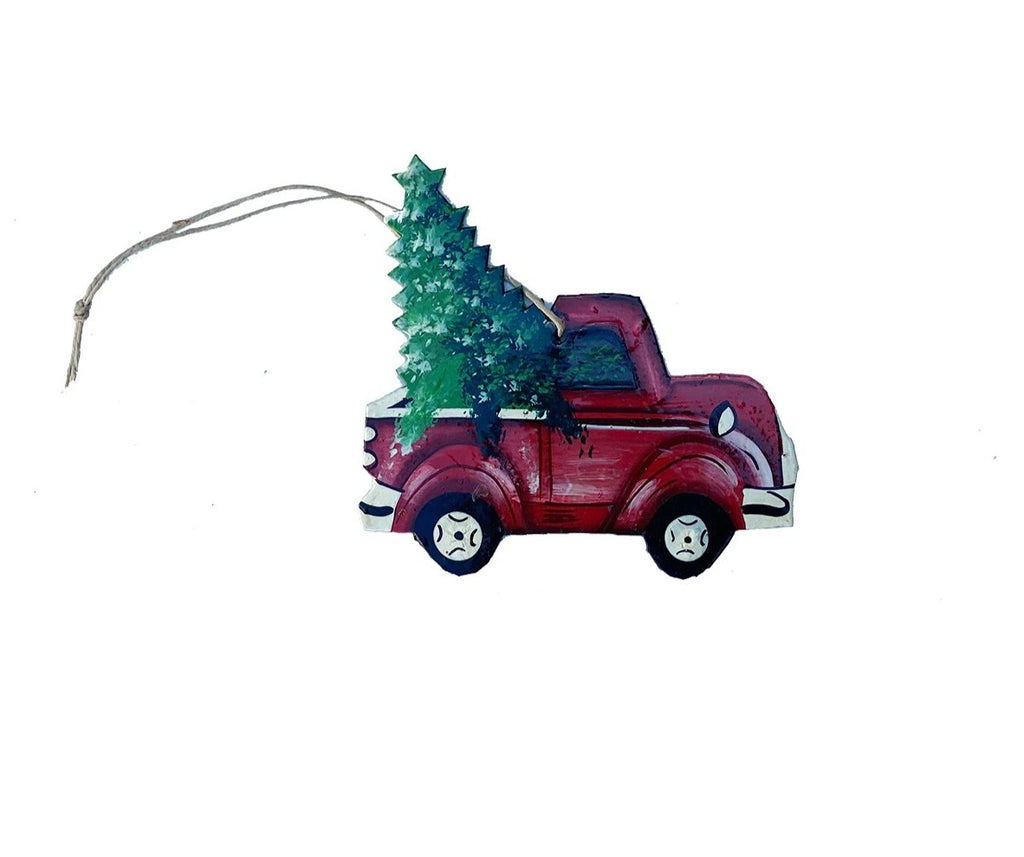 .Ornament - Metal - Painted Truck with Christmas Tree