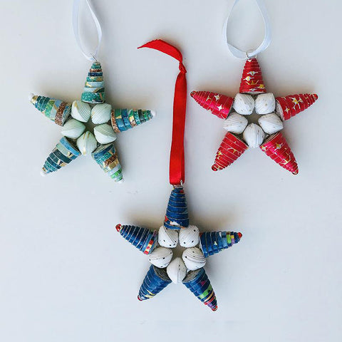 *Ornament Set- Designer Paper Bead Stars - Set of 3