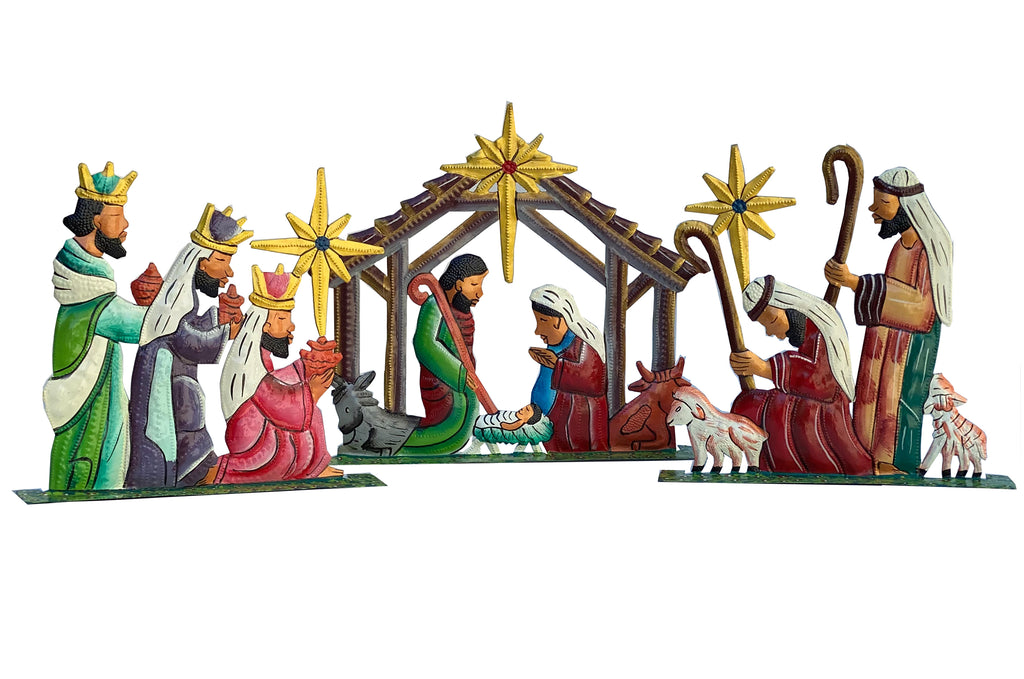 .Nativity -  Metal - Standing Nativity - 3 piece Painted