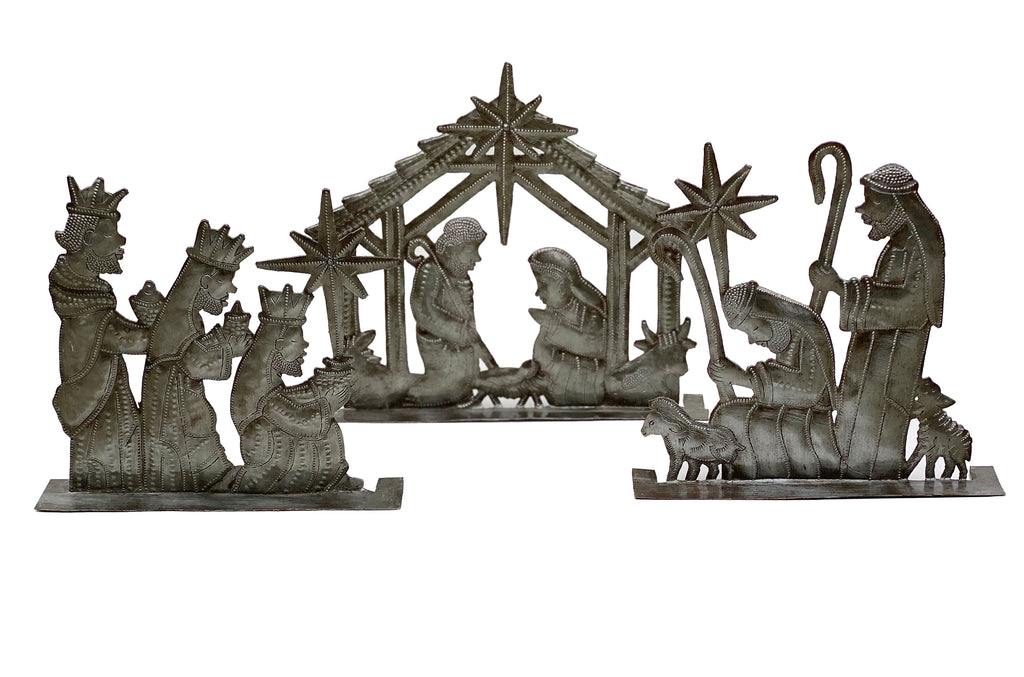 .Nativity -  Metal - Standing Nativity - 3 piece Unpainted