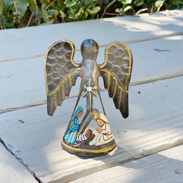 .Ornament - Metal - Standing Angel with Painted Nativity