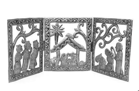 Nativity - Metal - Tri-Fold Rectangular Sections - Adjustable