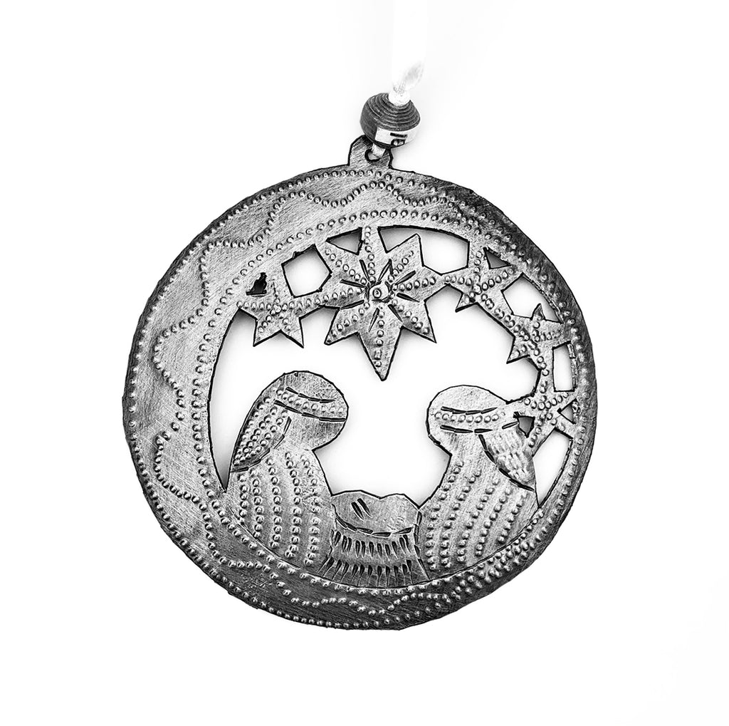 Ornament - Metal - Nativity - Round