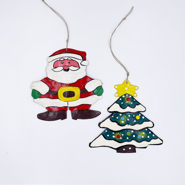 .Ornament - Metal - Painted Santa & Christmas Tree (Single or Set of 2)