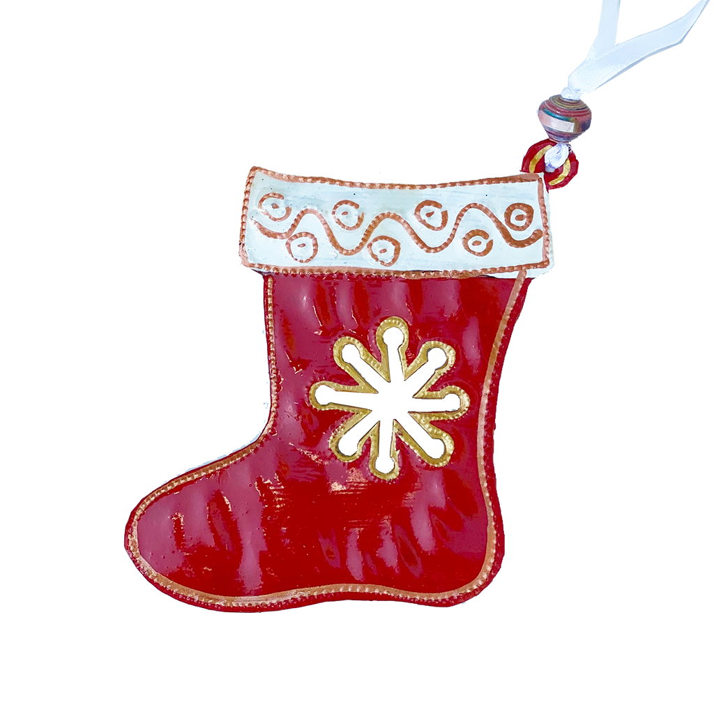 .Ornament - Metal - Painted Stocking