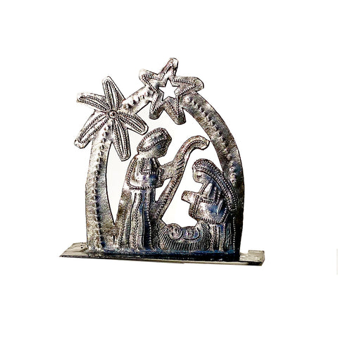 Nativity -  Metal - Small Standing - Rounded with Palm Tree