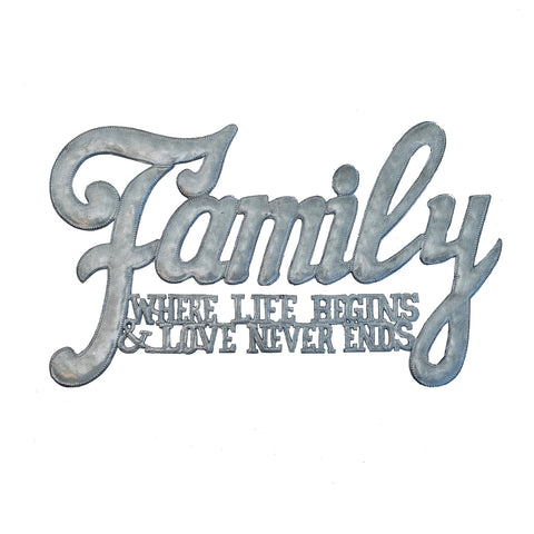 Wall Art - Metal - Family Where Life Begins and Love Never Ends