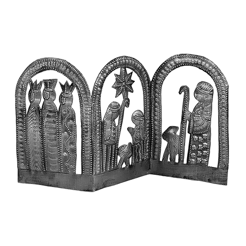 Nativity -  Metal - .Standing Nativity - Small Folded