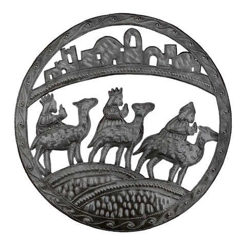 Wall Art - Metal - Large Round - 3 Kings Traveling