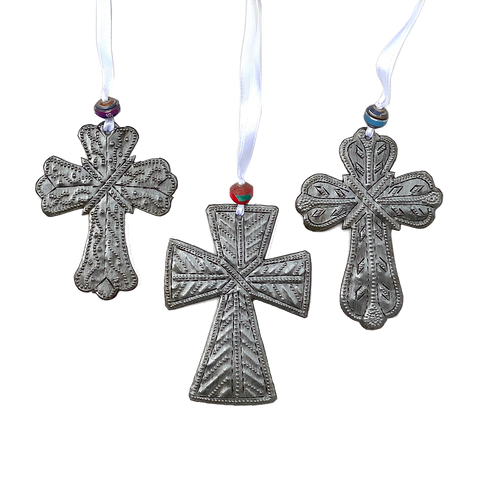 Ornament - Metal - Cross - Set of 3