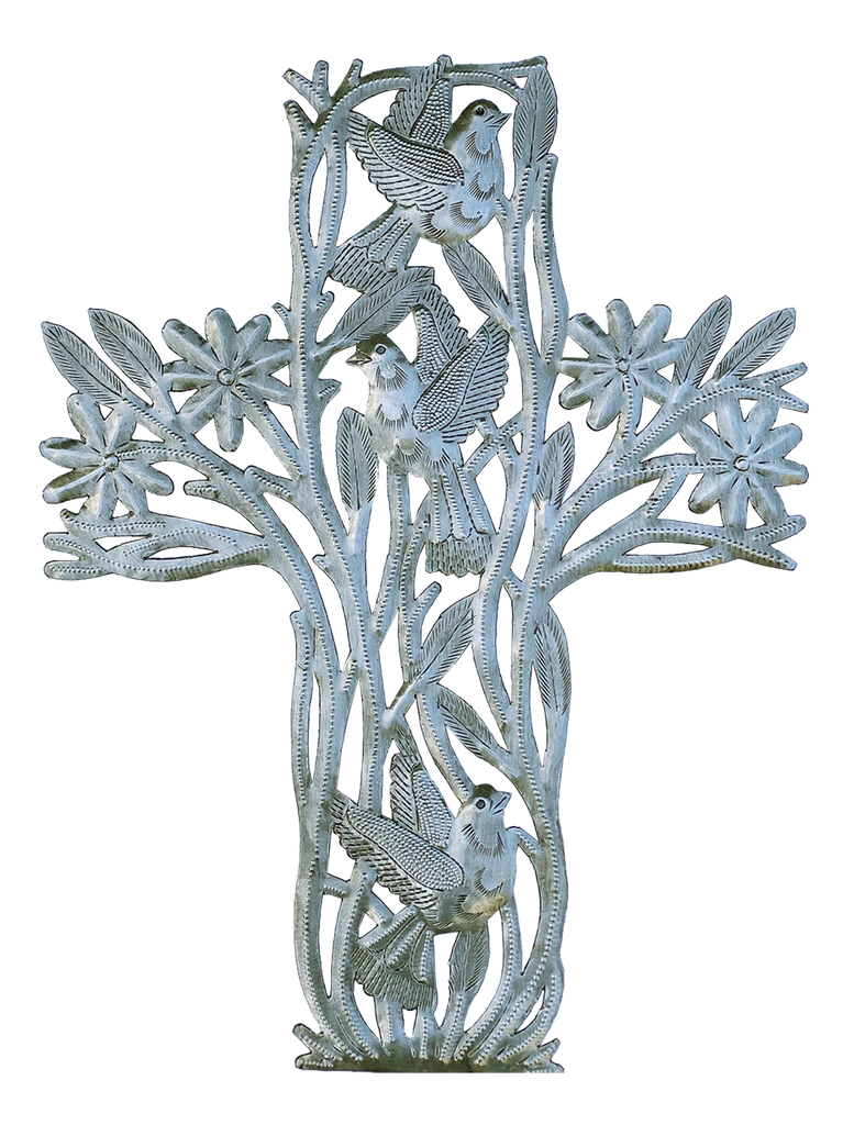 Wall Art - Metal - Cross with Birds - Extra Large