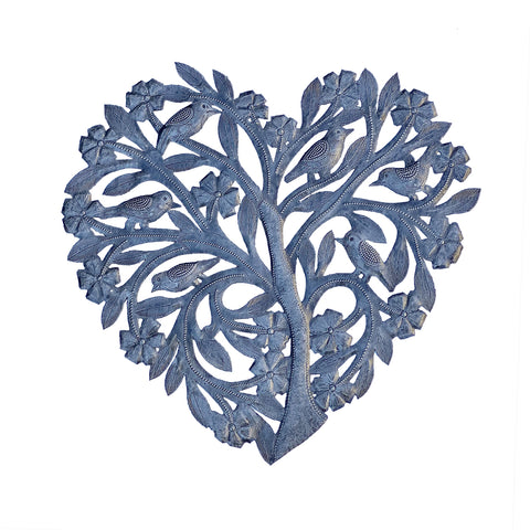 Wall Art - Metal - Tree Heart with Birds & Flowers