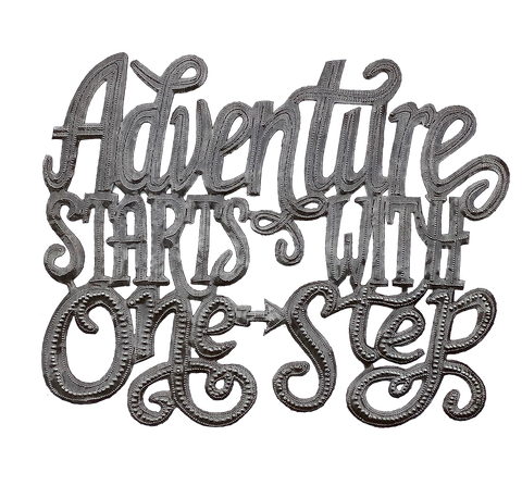 .Wall Art - Metal  - Adventure Starts with One Step