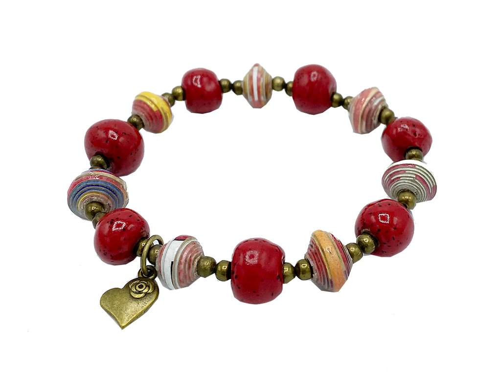 Bracelet  - Ceramic & Paper - with Heart Charm - Red tones