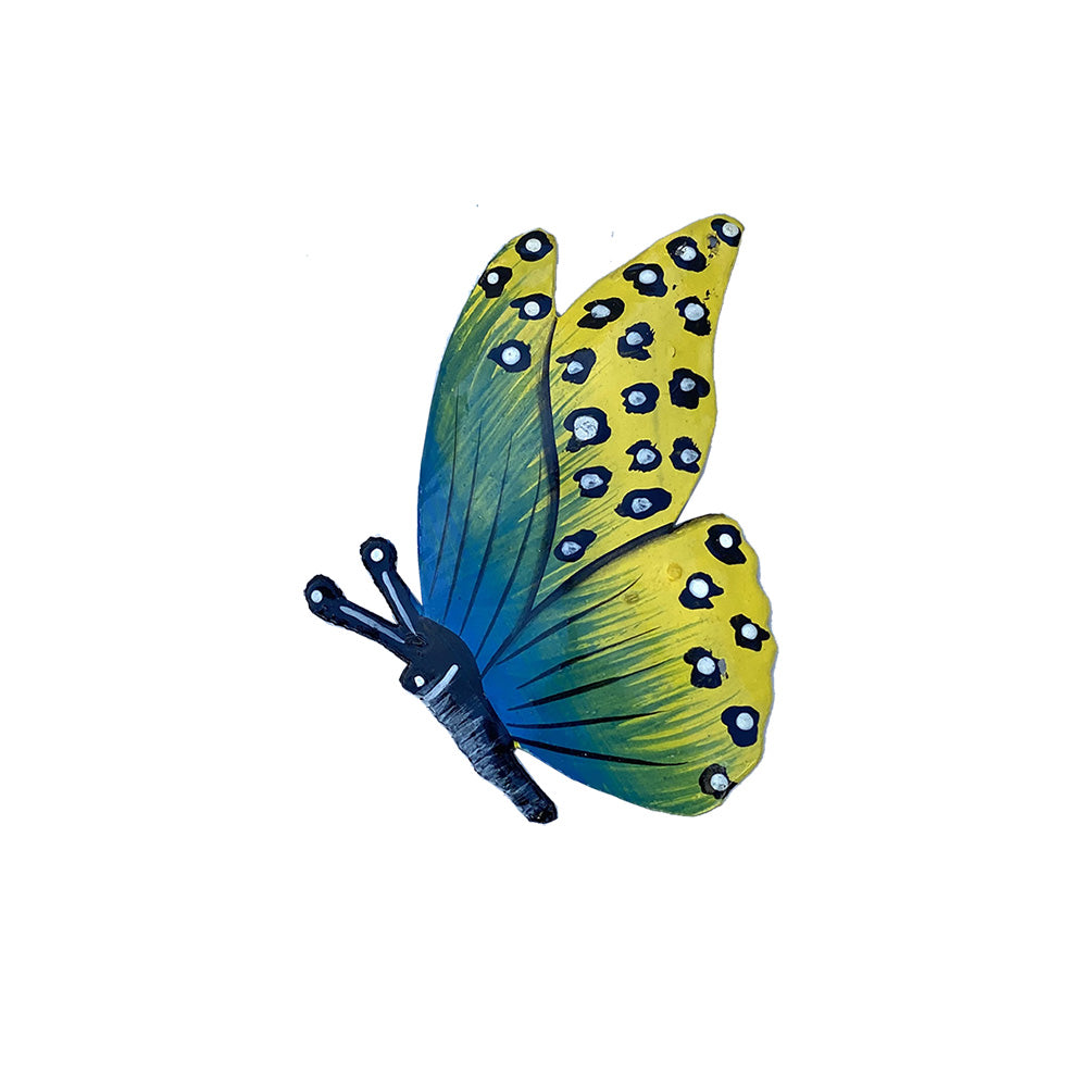 Ornament - Metal - Butterfly Painted Blue & Yellow Design - Side View