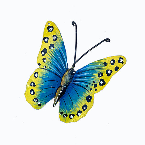 Ornament - Metal - Butterfly Painted Blue & Yellow Design - Top View