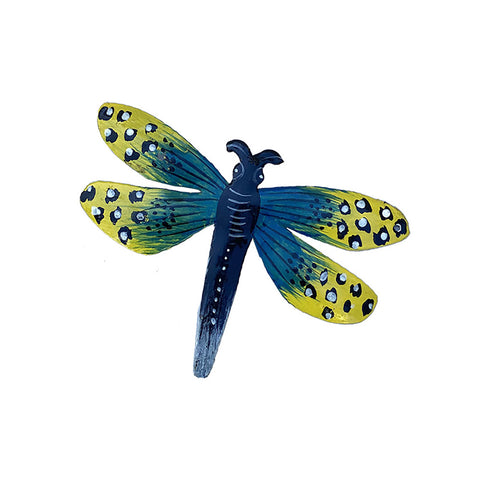 Ornament - Metal - Dragonfly Painted Blue & Yellow Design