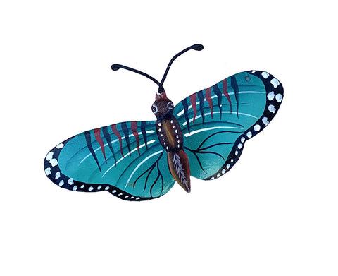 Ornament - Metal - Butterfly Teal Design - Wide Wing