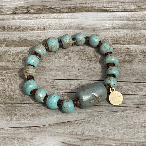 Bracelet  - Ceramic - Rustic Robins Egg with Charm