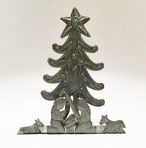 .Nativity -  Metal - Free-Standing with Christmas Tree