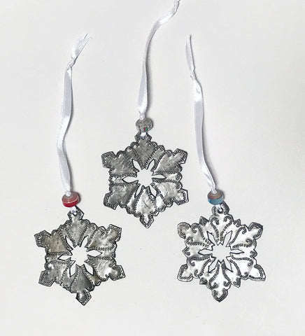 Ornament Set - Metal - Snowflakes - SET of 3