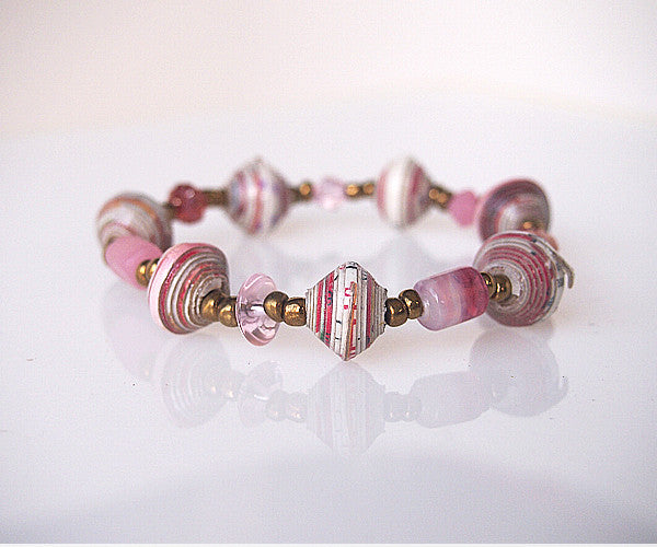 Bracelet - Paper  &  Glass - Various Colors