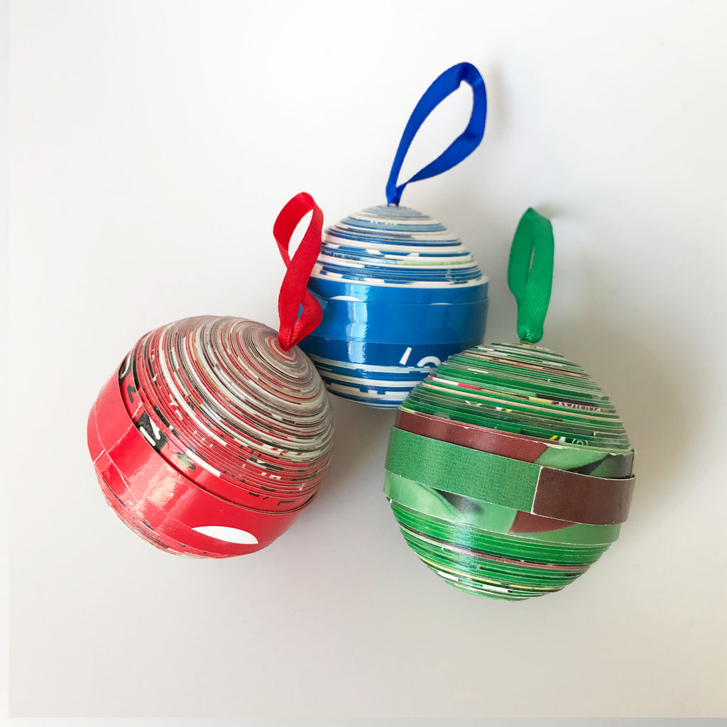 Ornament Set - Paper  - Cereal Box Round- Set of 3 - Red-Blue-Green