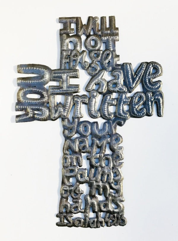 Wall Art - Metal - Cross -I have written your name on the Palms of my Hands