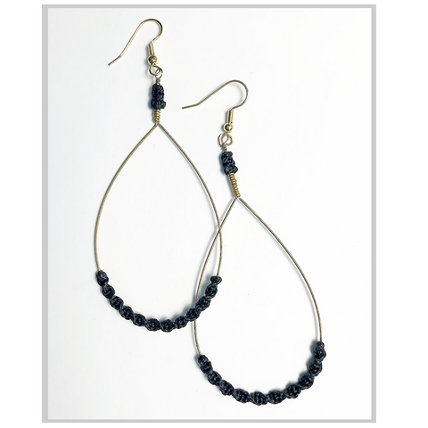 Earrings - Guitar String with Macrame