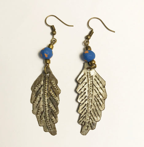 Earrings - Ceramic with Metal Leaf - Various Colors
