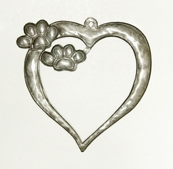 .Wall Art - Metal - Heart with Paws Frame